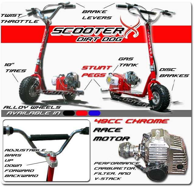 52cc scooter x racing motor dirt dog